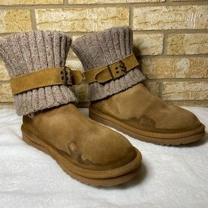 UGG Cambridge Brown Suede Leather Fold Knit 9 Boot